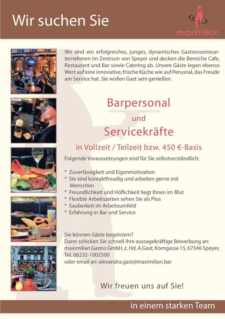 maximilian Speyer Stellenanzeige Service Bar-2019