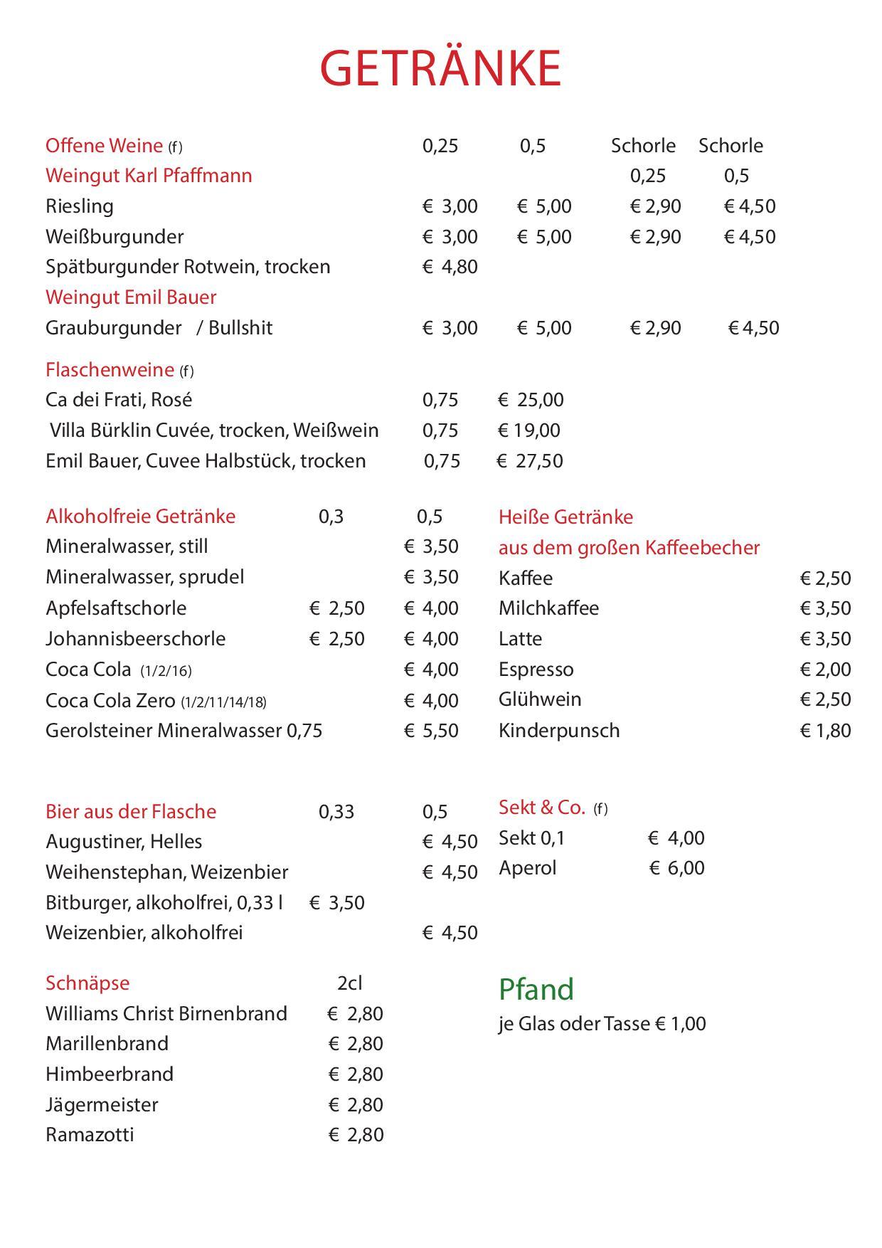 Waldeslust Speyer Getränkekarte