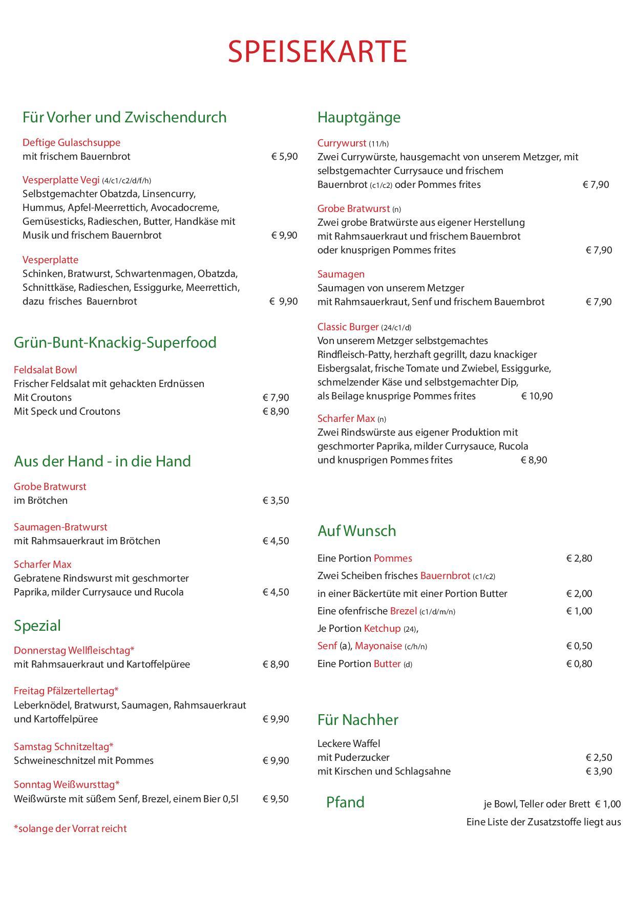 Waldeslust Speyer Speisekarte